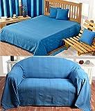 Homescapes waschbare Tagesdecke Sofaüberwurf Plaid Rajput 225 x 255 cm in Ripp-Optik Bettüberwurf aus 100% reiner Baumwolle in blau