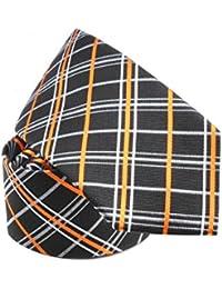 Cravate soie madras lignes orange