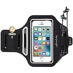 Landnics Brassard Sport iPhone 8/8Plus/7/7 Plus/6/6S Sumsung jusqu'à 5,5 Pouces, Brassard Téléphone Anti-Sueur avec Sangle Ajustable, Porte-Clés/Cartes, Attache pour Câble pour Courir, Vélo, Gym