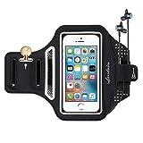 Handy Armband Landnics Sportarmband iPhone Android sebis 5.5 inch Schweißbeständiges Armband-Etui mit Schlüsselhalter, Kabelfach, Kartenhalter für Handys Samsung Galaxy iPhone 7/6/6S/5 (Schwarz+)