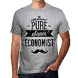 Herren Tee Männer Vintage T shirt 100% Pure ECONOMIST Grau Meliert