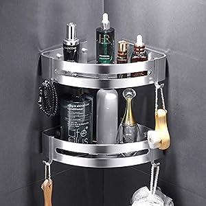 Kazeila Duschregal Eckregal – Bad Duschwanne mit 2 Haken – Duschkorb – Ohne Bohren – Raum Aluminium, Poliert (Dreieck) -2 Pack