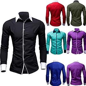 Herren Hemd, Malloom®Herren Casual Hemd aus Reiner Farbe mit Langen Ärmeln Business Slim Fit Hemd Bluse mit Print