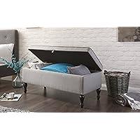Home Source Windsor Cushioned Ottoman Storage Seat/Blanket Box, Hopsack Fabric, Grey, 47.5 x 120 x 49 cm