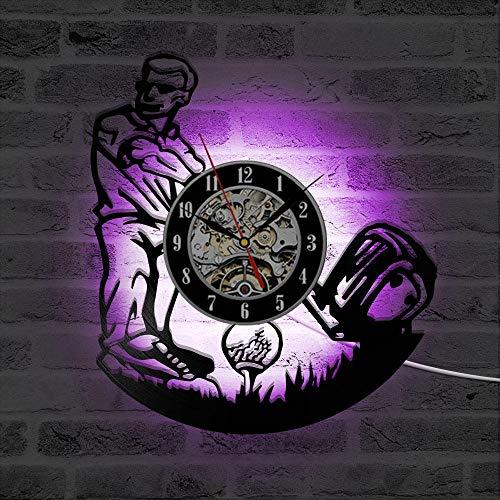 Golf Thema Cd Rekord Uhr Spielen Golf Mann Form Vinyl Wanduhr Vintage Hängen Led Uhr Handmade Home Decor ()