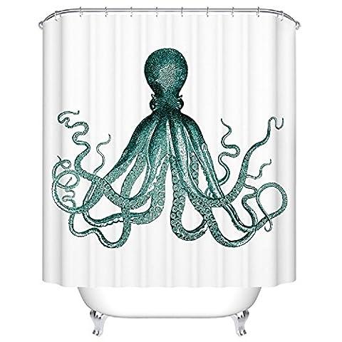 BBFhome Rideaux de douche Rideau 120 X 180 CM Bad personnalisé Tissu imperméable à l'eau de bain Atrovirens Octopus