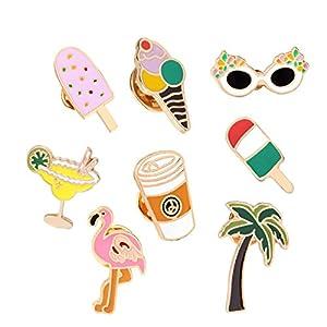 Adisaer Damen Emaille Pins Brosche Eiscreme Flamingo Sonnenbrille Broschen Multi Farben Mädchen 8 Stück Vintage