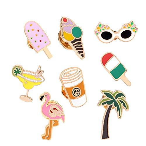 Adisaer Emaille Pins Brosche Damen Eiscreme Flamingo Sonnenbrille Broschen Multi Farben Mädchen 8 Stück Retro (Abercrombie Fitch Großhandel)