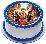 LEGO Movie 19cm rond Fondant glaçage comestible et imprimé avec votre personnalisé de voeux -
