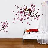 Wandaufkleber Wandbild Rosa Affen Baum-WS3033 70cm x 50cm Niedlicher Schlafender Affe auf Baum Ast f?r Kinderzimmer Dekorativer Entfernbarer Wandaufkleber