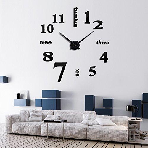 Y-Hui Grande taille montre réveil Horloge Diy Art Horloge murale Horloge,Autres,Black Mirror (80*80 cm)