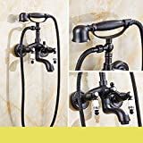 Daadi Schwarz alte Dusche Wasserhahn Kit voll Kupfer Prozess in der Wand montiert Badewanne Armatur Bad Badeanzüge, B,Geeignet für Küche, Waschbecken Wasserhahn