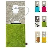 ebos Ladestation ✓Ladetasche aus Echtem Wollfilz und Kuhfell ✓ für Handys, Smartphones und Digitalkameras (Grün/Hellgrau)