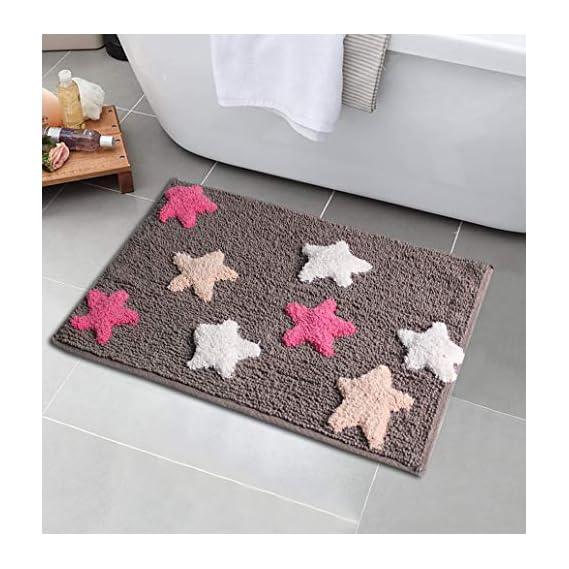 Tanishkam Decor Living Love Style Bath mat for Home Soft Microfiber Anti Skid Bathmat, Bath/Bed/Door/Living Room & Entrances - International Series Cotton Washable, Size 80 X 50 cm ( Set of 2 , Grey Multi Stars )