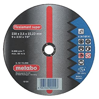 Metabo 616101000 616101000-Disco de tronzar para Amoladora Angular Flexiamant Super A36-T Metal embutido Ø 125 x 2 x 22,22 mm (Envase de 25 Ud)