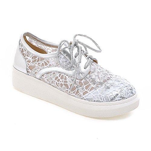 Odomolor Damen Blend-Materialien Rein Schnüren Rund Zehe Niedriger Absatz Pumps Schuhe, Silber, 41