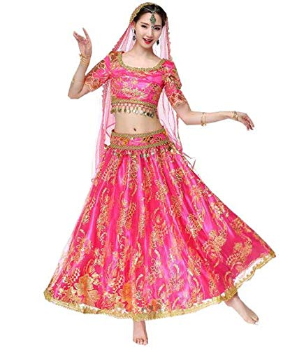Huaishu Women es New Indian Belly Dance Sari Kostümtanz Performance Outfit Suit Red Green Pink,Pink,S