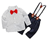Feoya Baby Jungen Bekleidung Set Festliche Kleidung Baumwolle Langarm Hemd Hose Hosenträger Taufanzug Gentleman Anzug Rote Fliege 9-12 Monaten