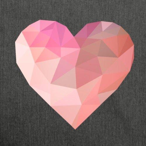 Spreadshirt Valentinstag Grafik Herz Low Poly Geometrisch Schultertasche aus Recycling-Material Schwarz Meliert