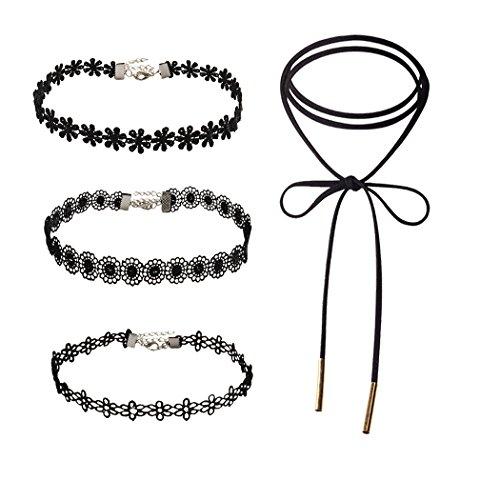 Jane Stone Damen Halskette Choker Halsbänder 4er Set Boho Vintage Stil schick enge anliegende Jocker Kette für junge Frau und Mädel