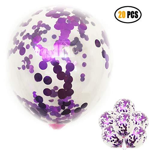 """20 Pack 12"""" Purple Konfetti-Ballons zum Hochzeit Engagement Geburtstags party Veranstaltungen"""