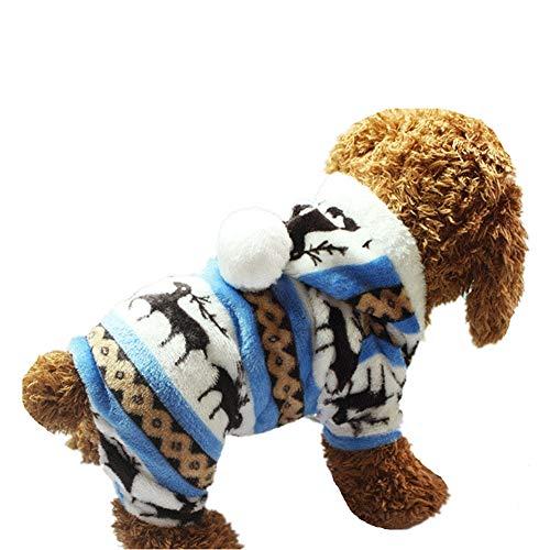 AMURAO Winter Hund Kleidung Mantel, Welpen Schneeflocke Weiche Fleece Haustier Kleid Muster Korallen Samt Hirsch Weihnachten