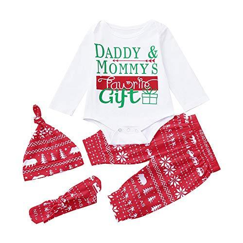 Bekleidungset,Transwen 4ST Weihnachten Kinder Baby Brief Print Strampler + Hosen + Hut + Stirnbänder Set Outfit Xmas Kleidung Weihnachten(0-18 Monate) (70, Weiß)