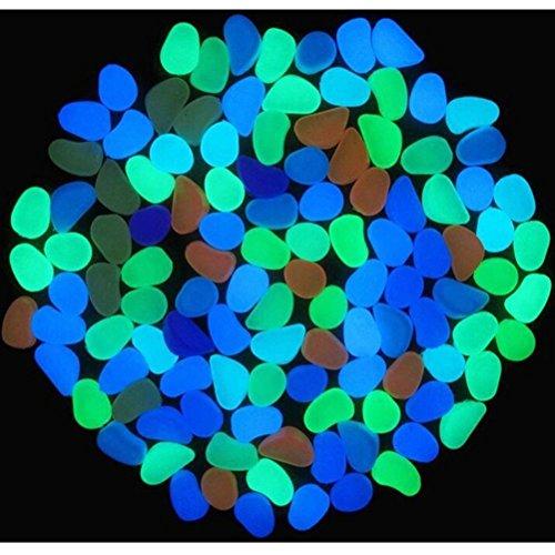 Sel-More 100Glow Pebbles Home Aquarium, Das Outdoor Decor Garten Stein Luminous Glowing in The Dark Mehrfarbig Multi Einheitsgröße