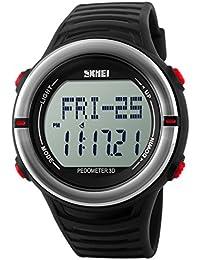 Panegy - Reloj Digital Deportivo con Múltiples Funciones Resistente al Agua con Podómetro y Monitor de Frecuencia de Corazón para Hombres-Color Rojo