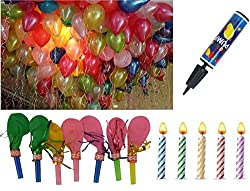 Amit Marketing 50 Pieces of Metallic Hd Balloons, 20 Pieces of Bugle Balloons, 1 Pack of 15 Candles