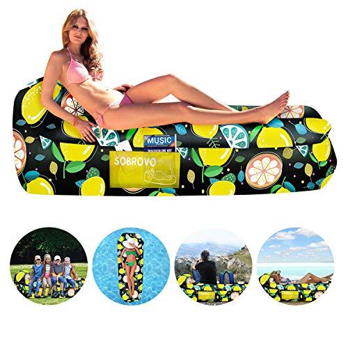 Wasserdichtes aufblasbares Sofa, Luft Sofa,Luft Couch, mit Integriertem Kissen, tragbares aufblasbares Sofa, aufblasbares Outdoor-Sofa Fuer Camping, Park, Strand, Hinterhof (Frucht Muster)