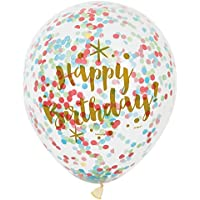 Glitzy Gold Happy Birthday Confetti Balloons, Pack of 6