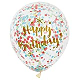 Foil Glitzy Gold Happy Birthday Confetti Balloons, Pack of 6