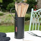 Coal Scuttle Design Fireside Metal Matchstick Holder Scuttle Design And 40 Extra Long Matches Sticks - New