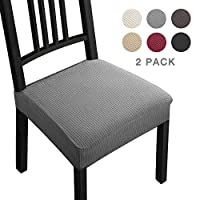 Stretch Chair Seat Covers Jacquard Dining Chair Covers Seat Covers Slipcovers Removable Washable Spandex Slipcovers for High Chairs 2 PCs Chair Protective Covers--Home, Kitchen(Pack of 2 Gray) -B