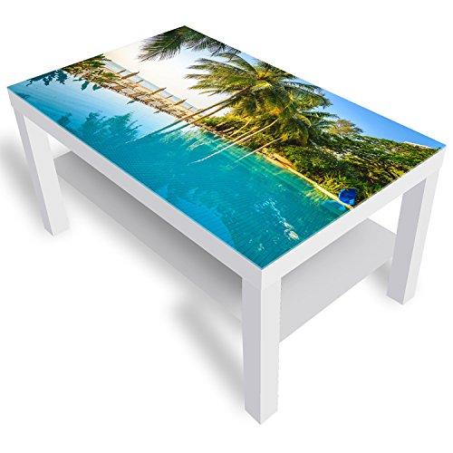 DekoGlas IKEA Lack Beistelltisch Couchtisch 'Hotel Resort Pool' Sofatisch mit Motiv Glasplatte Kaffee-Tisch, 90x55x45 cm Weiß (Lack Pool-tisch)