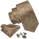 Conjunto de Barry.Wang, de gemelos, pañuelo para bolsillo y corbata, de seda, con elegante estampado floral, para hombre Amarillo amarillo Talla única