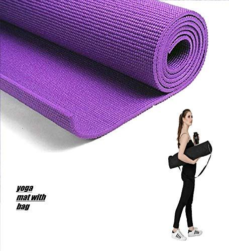 DEVMA Soft Comfort Fitness Exercise Anti Skid, Non Slip Purple Yoga Thick Mat for Men & Women with Bag