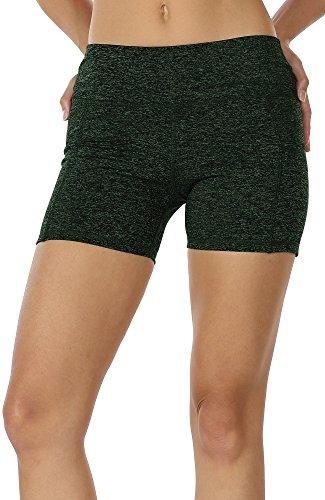 icyzone Kurz Sporthose Damen Fitness Shorts - Workout Training Tights Kurze Yogahose Jogginghose mit Taschen (XL, Moss) Damen Tights Shorts Sport Kurze Hosen - Laufshorts Fitness Yoga Leggings