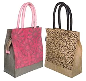 Foonty Daily Use Women Jute Lunch Bags(Combo of 2,Multicolour,fab-5)