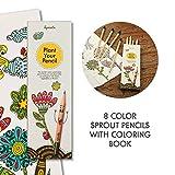 Sprout MalSet für Kinder | 8er Pack | Buntstifte zum Malen und Zeichnen aus unbehandeltem Bio Holz| Stifte zum Einpflanzen plus Colouring Book