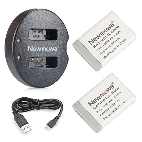 Newmowa Ersatz Akku NB-13L (2er Pack) und Tragbar Micro USB Ladegerät Kit für Canon NB-13L, PowerShot G5X,PowerShot G7X and PowerShot G9X