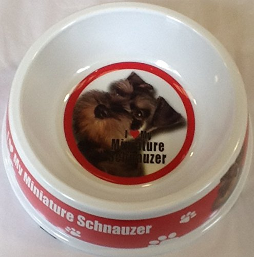 I Love My Mnature Schnauzer Dog Food/Water Bowl