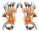 Flourish zusammenpassendes Paar Schwarze Vasen 794521 QH1 mit Kunstblumen aus Nylon, Dekoartikel, Geschenk, Wohnaccessoires, 32cm, in Orange und Gelb Silber/Orange