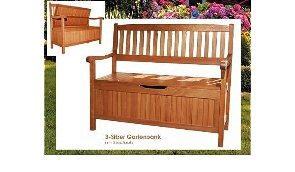 Sitzbank mit Kissenbox mit Sitzauflage Holzbank Gartenbank