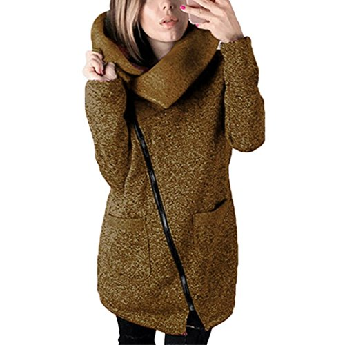 cke Herbst Winter Hooded Coat Long Zipper Pullover Outwear Mantel (XXXL, ❤️ Kaffee) (Große Büro Kostüme)