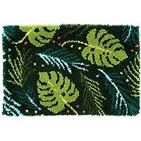 Vervaco Knüpfteppich Blätter Knüpfpackung, Baumwolle, Mehrfarbig, 70 x 45 x 0,3 cm