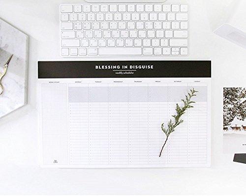 So Chic Desktop Weekly Planner Pad Undated Calendar Desk Pad Organizer Schedule Agenda To do list notepad, 52p, 14.8 X 8.9 by Second Mansion