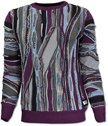 Carlo Colucci Rundhals Pullover mit Jacquard-Muster, Rot Gemustert Rot XXL