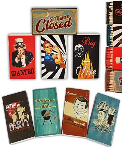 Schnäppchenladen24 8 x 45er Packungen Streichholzschachteln, 10cm Vintage Werbung Retro Nostalgie Streichhölzer Zündhölzer